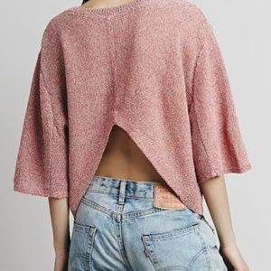 Free People Oversized Cropped Open Back Sweater